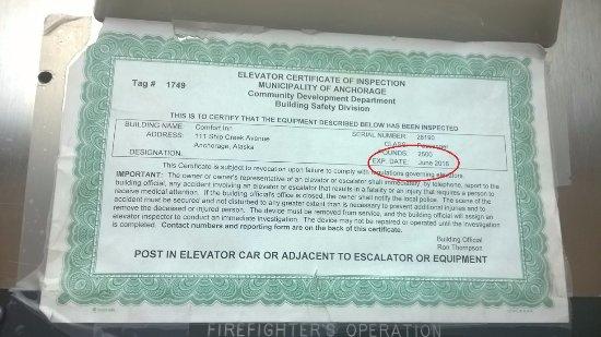 Comfort Inn Ship Creek: Expired elevator certificate