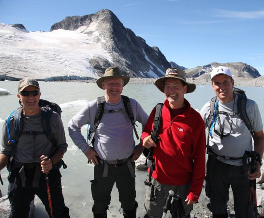 Pemberton, Canada: Happy Hikers with Yoho Adventures hiking to nearby Glacier Lake and Glaciers Of The Coast Mounta