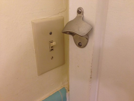 Inca Inn: Trying getting to the bathroom light switch without hitting the bottle opener, especially at nig