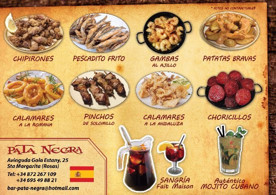 Restaurante Pata Negra Tapas : Flyer Pata Negra