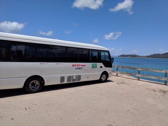 Magnetic Island, Australia: Our Tour Bus visiting Geoffrey Bay to find Wallabies and Tropical Fish