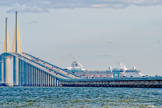 All Clear, Royal Caribbean's Empress of the Seas going under the Sunshine Skyway Bridge
