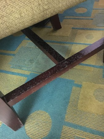 La Quinta Inn Victoria: Looks like mould to us on chair in room 206