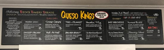 Loleta, CA: Grilled cheese sandwich menu