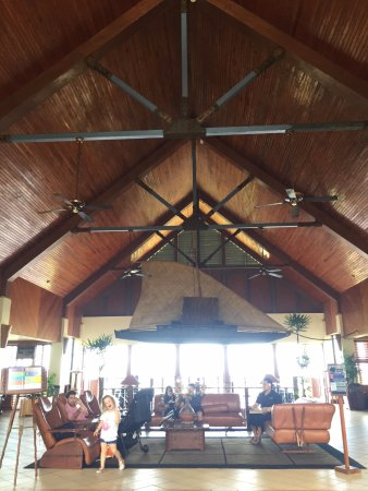 Outrigger Fiji Beach Resort: The lobby with suspended Outrigger canoe