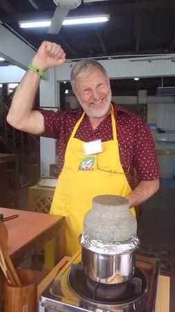 LaZat Malaysian Cooking Class: Yes! I am making my own nasi lemak.