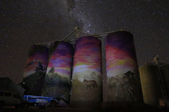 Thallon Silos at night
