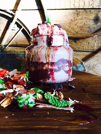 Scarborough, South Africa: Dark Chocolate, Coco Cream & Berry Coulis Milk Shake Dessert - Naughty but nice and great to sha