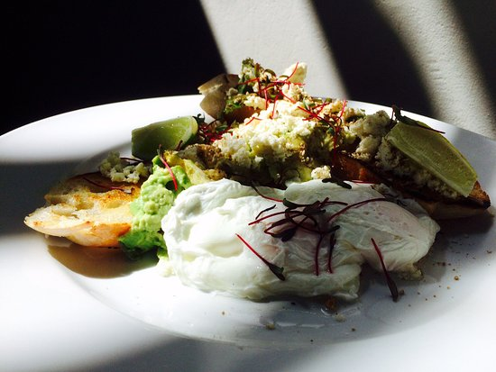 Scarborough, Republika Południowej Afryki: Smashed Avo & Poached Eggs, Dukkah and Lime juice on Toasted Ciabba