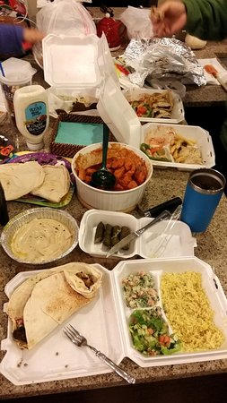 Pittston, PA: Kufta Kebab platter, hummus, grape leaves, shawarma platters