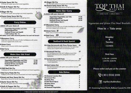 Foto de top thai kitchen ballarat take away menu 1 for Perfect kitchen takeaway menu