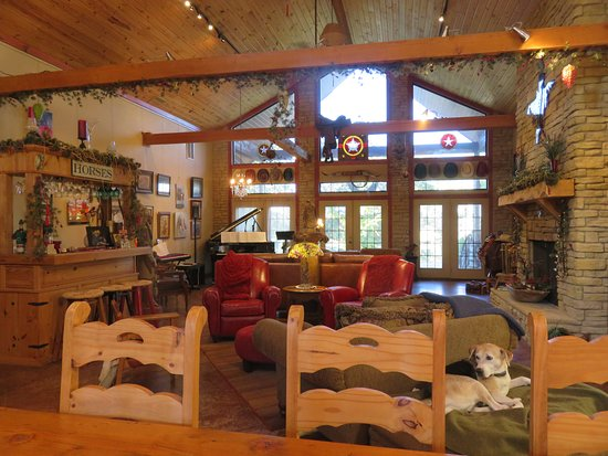Rusty Gables Guest Lodge & Gallery: View of the gallery area from the breakfast table.