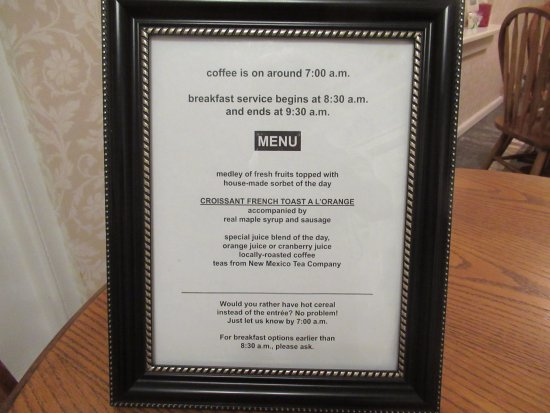 Bottger Mansion of Old Town: Breakfast menu - available for viewing the day before