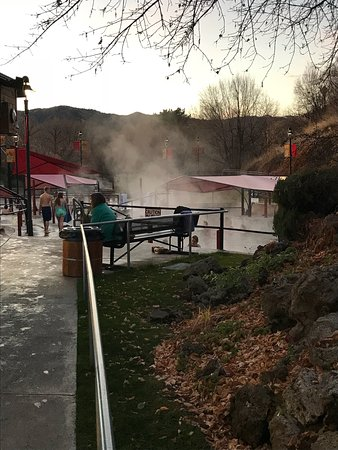 Lava Hot Springs, ID: Getting into hot water! Great soak. Super clean lots of graduated pools to choose from.  Great p