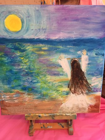 Surf City, NC: I painted an early morning scene on the beach. I didn't know I could paint!!