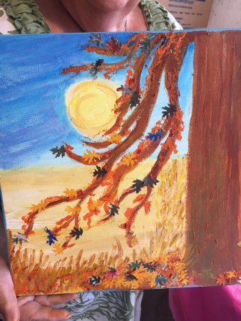 Surf City, NC: My mom painted a beautiful fall tree for Autumn at Topsail