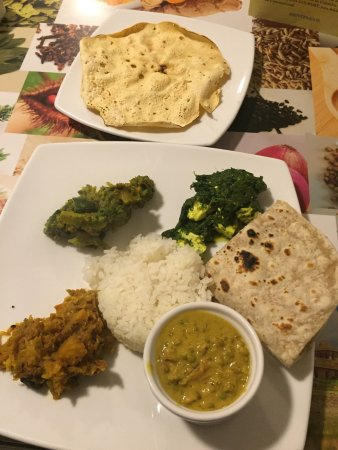 "India Gourmet: Vegetarian ""thali"" - limited quantity plated meal."