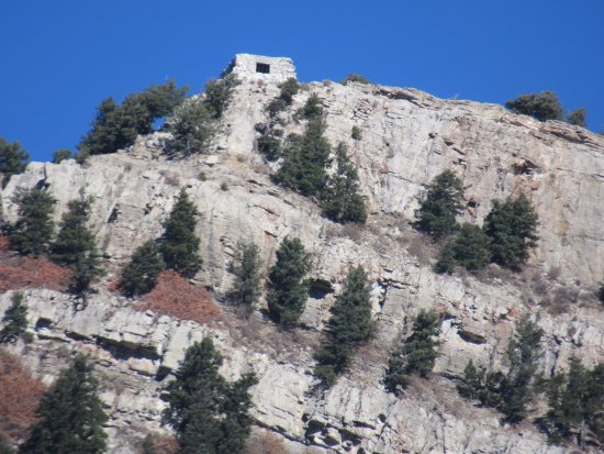 Sandia Peak Tramway: Historic rock cabin - built in the 30's by Civilian Conservation Corp