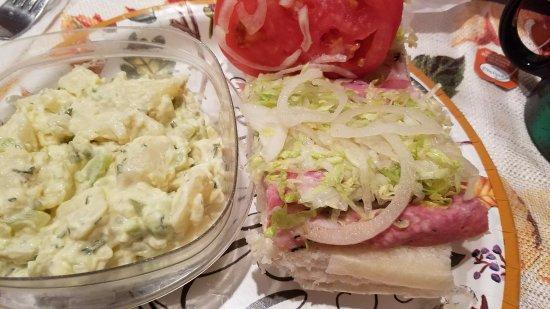 Clinton, NJ: 1/4 Italian Sub with my own potato salad.