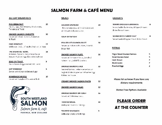 Westland National Park (Te Wahipounamu), Nouvelle-Zélande : Salmon Farm & Cafe Menu