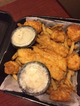 Dartmouth, MA: Fried fish, scallops, and fries.