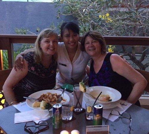 Mozzarella at The Magani Hotel: Ani the waitress , and myself and Lesley.