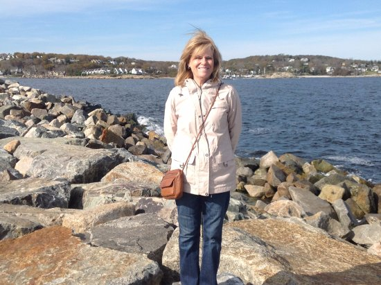 Rockport, MA: Susie on the jetty at Bearskin Neck