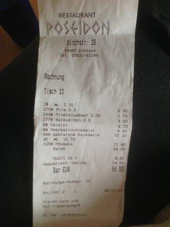 Korbach, Tyskland: Bezahlte Rechnung