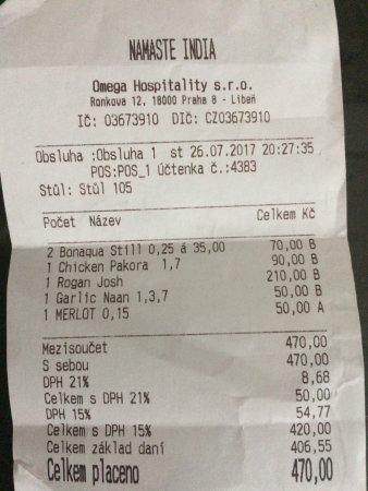 Namaste India Indian Restaurant: The check