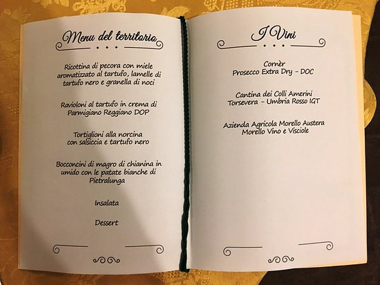 Pietralunga, İtalya: Menu for our welcome dinner