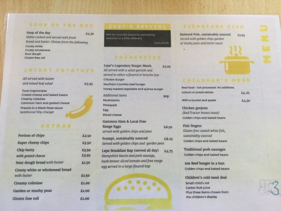 Lepe Country Park Cafe Menu