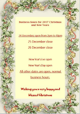 Golden Elephant Thai Cuisine : 2017 Christmas opening time