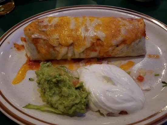 Germantown, MD: Beef burrito with sour cream & guacamole