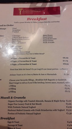 Kennedy's Food Store: menu