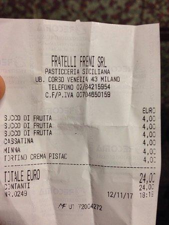 F.lli Freni Pasticceria Siciliana: Buone le paste, ma non é che sono un po costose? E 4 € un succo di frutta....manco in centro! Ma