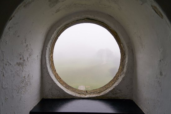 Broadway Tower: Looking through the round window
