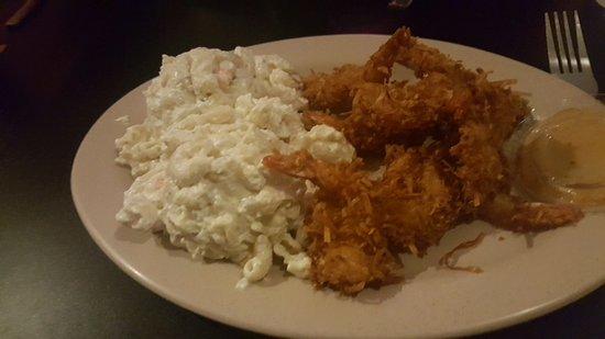 Moscow, ID: coconut shrimp and mac salad