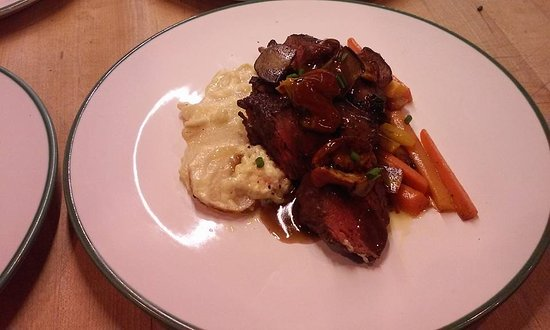 Centennial, WY: Bison Tenderloin, Asiago Scalloped Potatoes, Tri-Colored Carrots