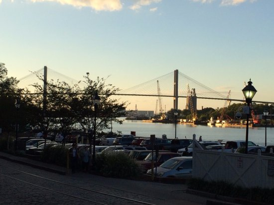 River Street Savannah: Shot of the bridge from River Street