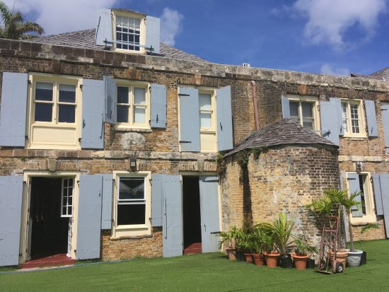 English Harbour, Antigua: One of the many buildings constructed from original ships' ballast bricks