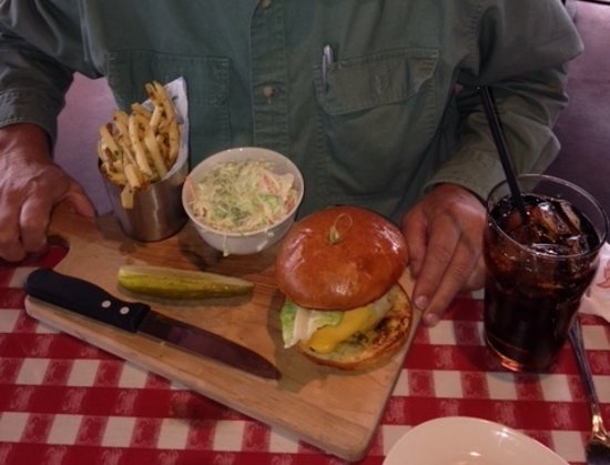 King's Fish House: Grilled yellowtail sandwich with fries and coleslaw