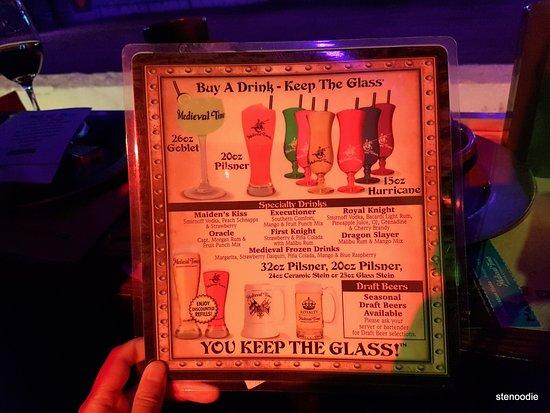Medieval Times Drink Menu Toronto