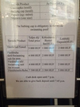 Wonderful Gellert Spa: Price List For Rentals U0026 Sign Stating You MUST Wear A Bathing  Cap