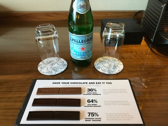 Fairmont Pacific Rim: Chocolate assortment and sparkling water.