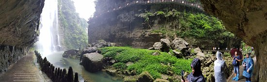 Yichang, China: Panoramic view from under the waterfall
