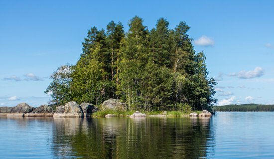 Lahti, Suomi: Blue lakes under blue sky - perfect summer day.
