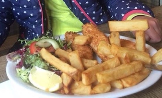 Pewsey, UK: Home made Salmon fish fingers and huge tasty chips.