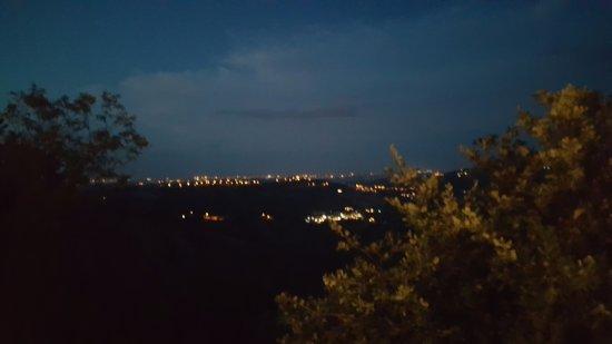 Borgo Maggiore, San Marino: Adriatic coastal towns in the distance, twinkling.