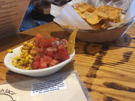 Cabo Fish Taco: The chips were awesome and the salsa was great too!