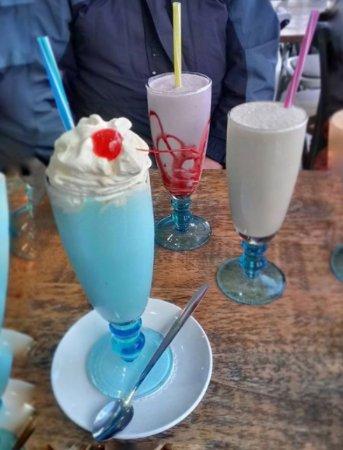 Forte's Cafe Restaurant: Bubble Gum, Raspberry , Banana & Peanut Butter Milkshakes.